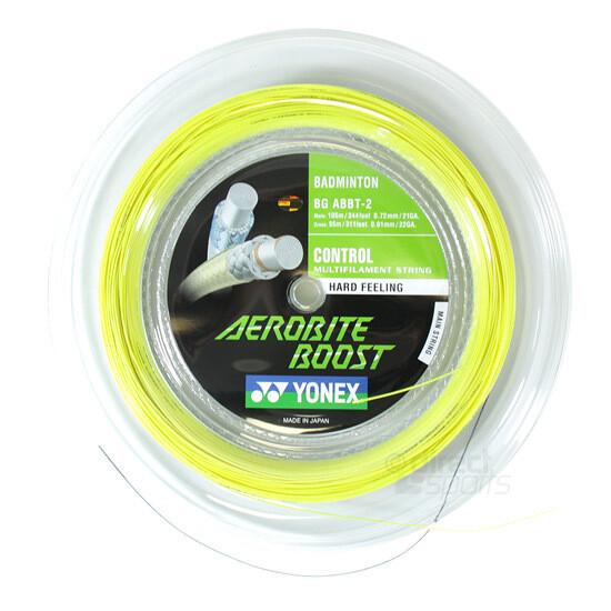Yonex Aerobite Boost Badminton String - 200m Reel - Yellow/Grey