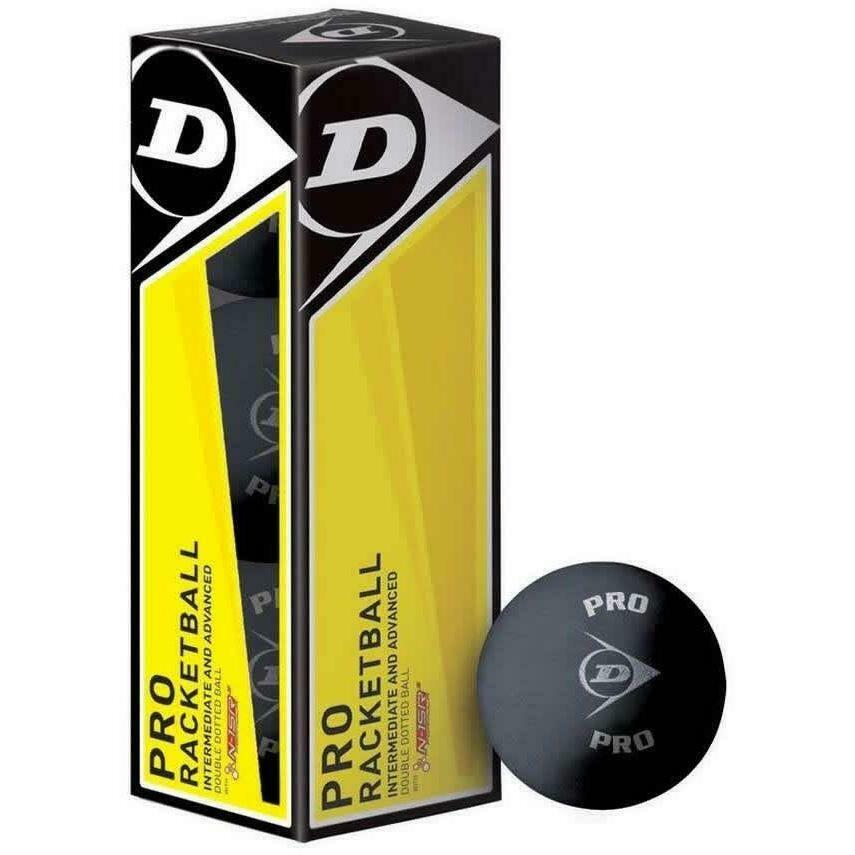 Dunlop Pro Racketball Balls Black - 3 Pack