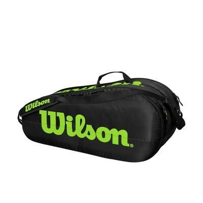 Wilson Team 2 Comp Bag Black Green - 6 Pack