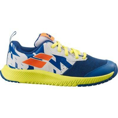 Babolat Kids Pulsion Tennis Shoes - Dark Blue/Sulphur Spring