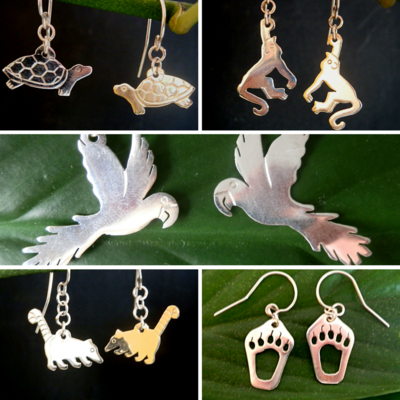 Handmade Silver Animal Earrings / Aretes en Plata Hechos a Mano