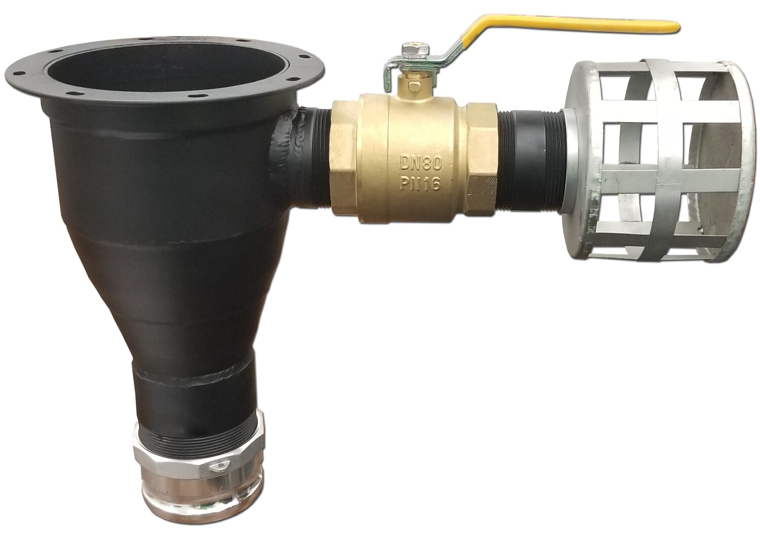 """8"""" Slotted Flange Reducer to 4"""" Male Cam Lock Air Valve and Breather"""