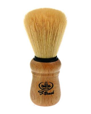 Omega Synthetic Fibre Shaving Brush, Beech Wood Handle