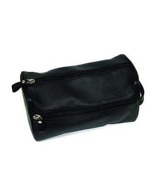 Black Pebble Leather Dopp Bag