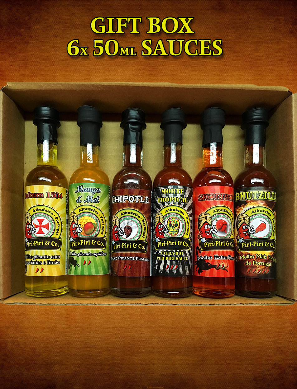 Box set with 6x 50ml sauces