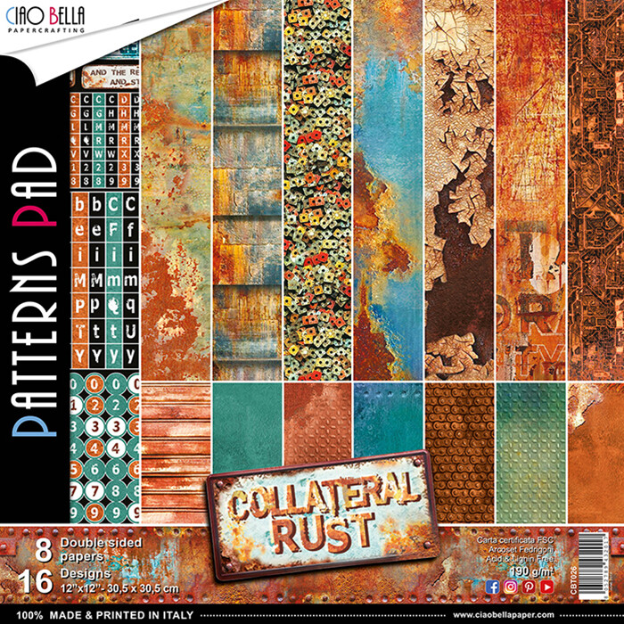 Ciao Bella COLLATERAL RUST 12x12 Patterns Pad (8 pack)