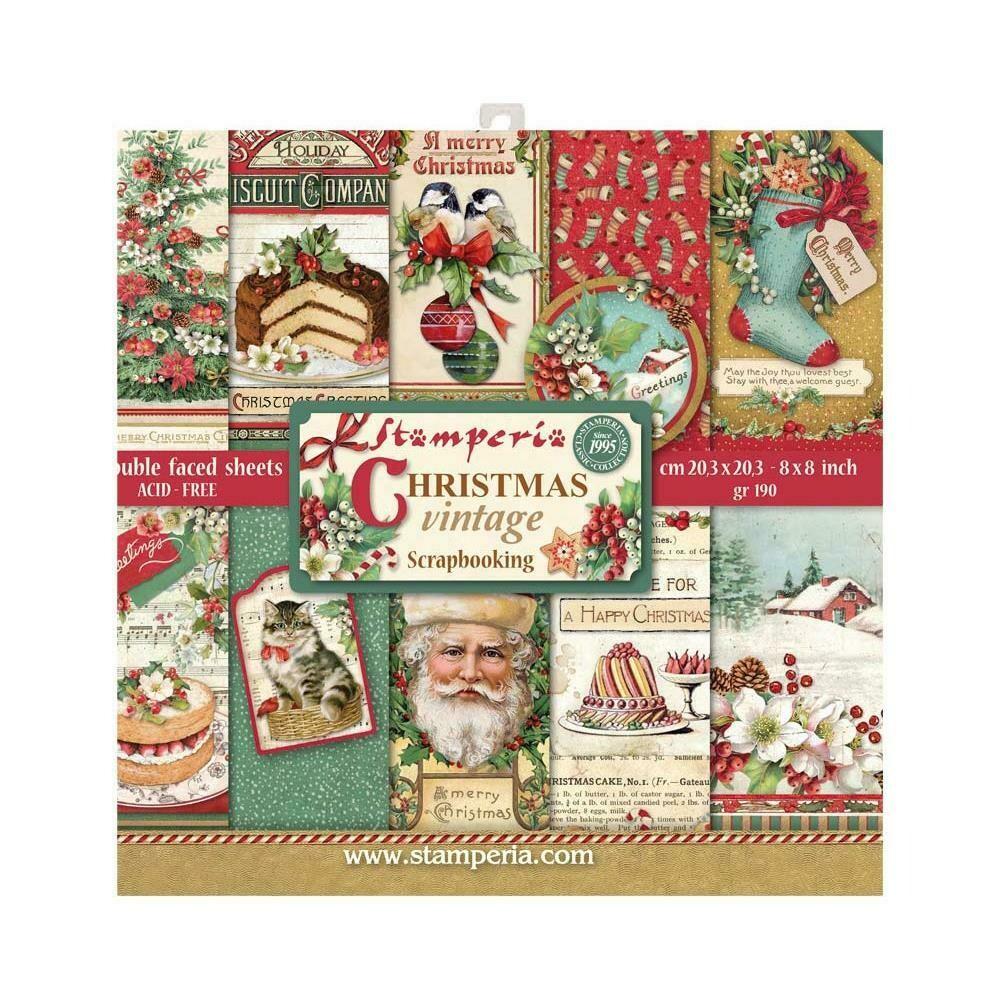 STAMPERIA CHRISTMAS VINTAGE 8X8 PAD