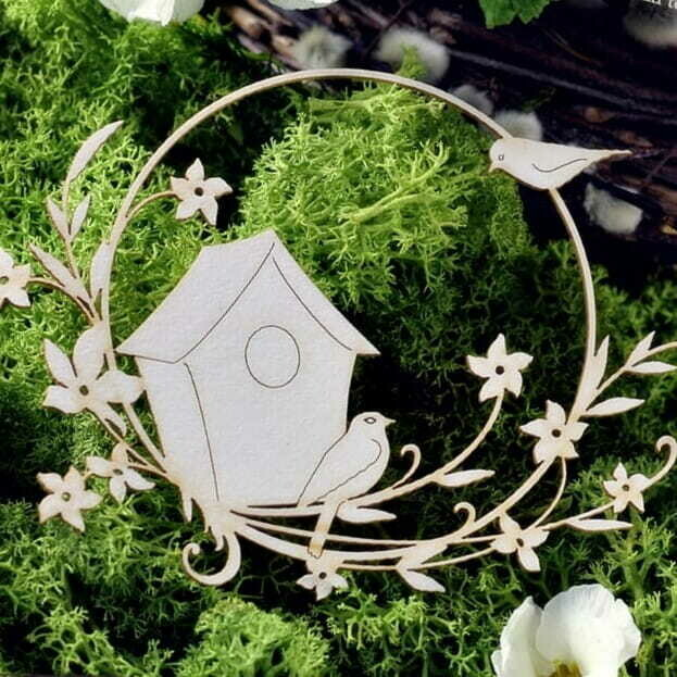 Birdhouse with Birds in the Garden