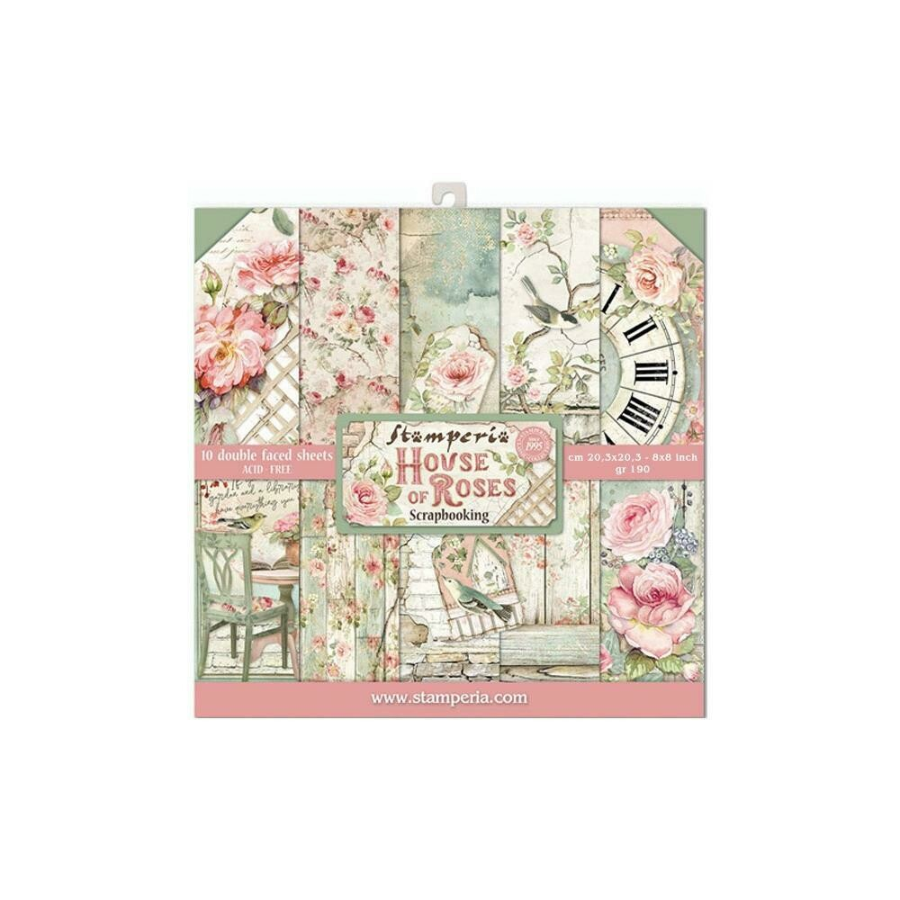 STAMPERIA HOUSE OF ROSES 8x8 PAD
