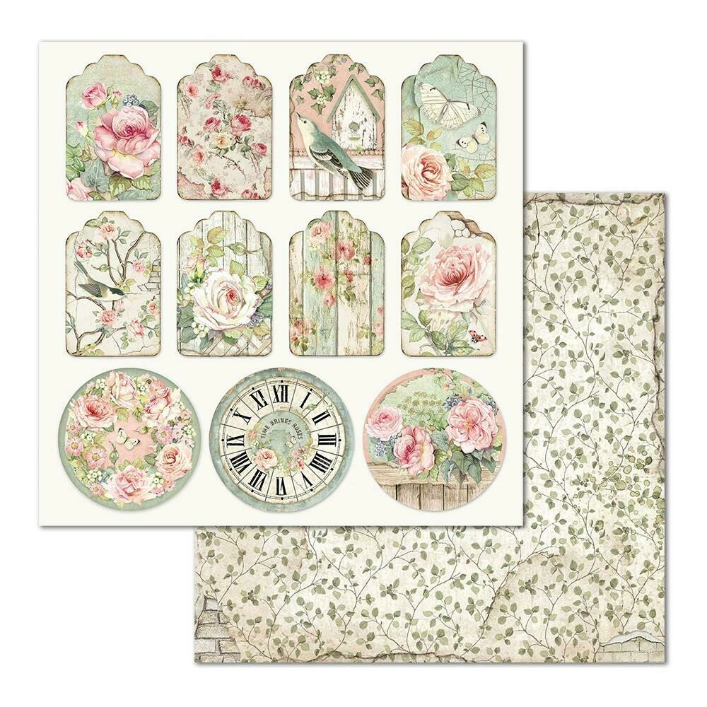 STAMPERIA HOUSE OF ROSES 12x12 SINGLE SHEET - TAGS
