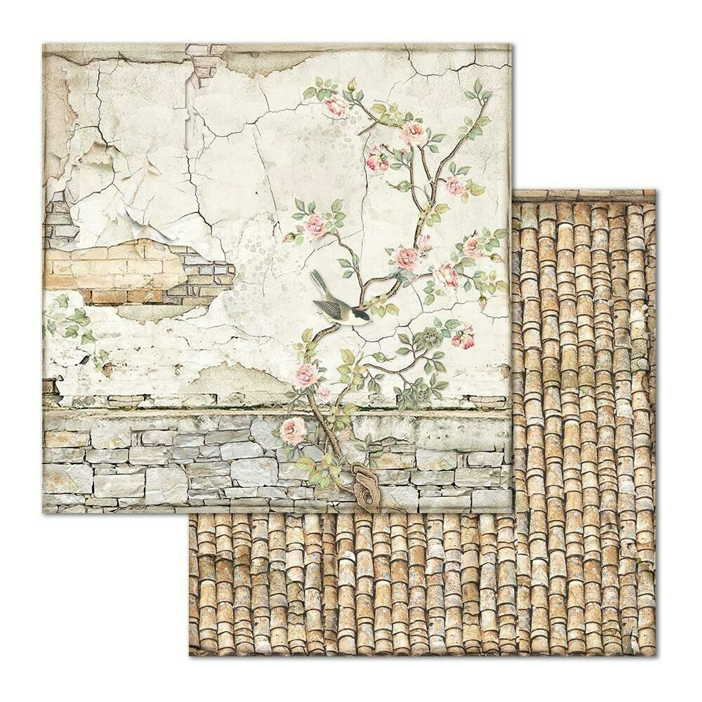 STAMPERIA HOUSE OF ROSES 12x12 SINGLE SHEET - SM. BRICKS WITH TREE
