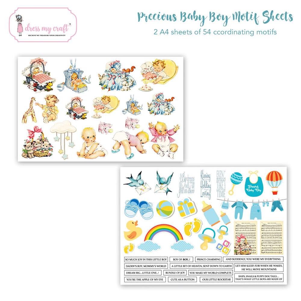 DRESS MY CRAFT - PRECIOUS BABY BOY Motif Sheets