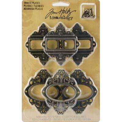 Tim Holtz Idea-Ology Metal Ornate Plates W/Brads