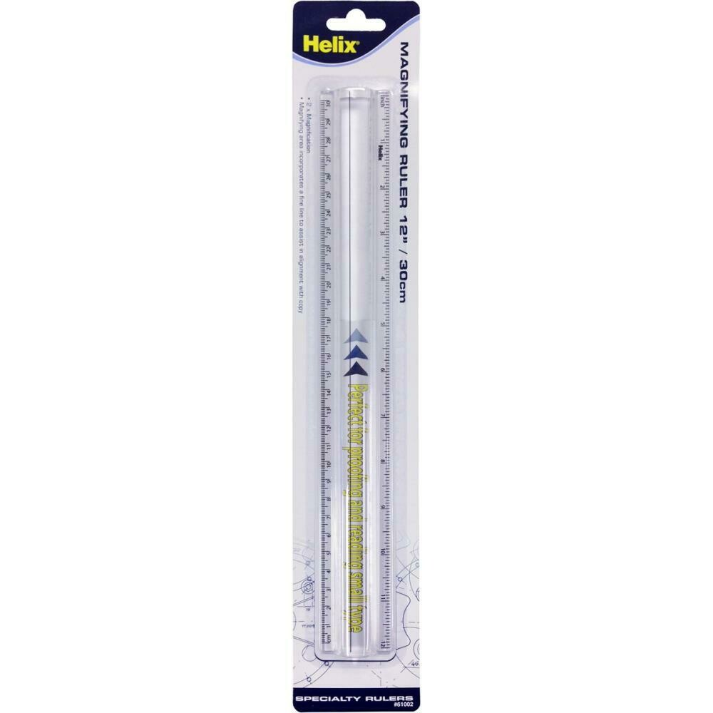 30cm/12 Inch Magnifying Ruler - Clear