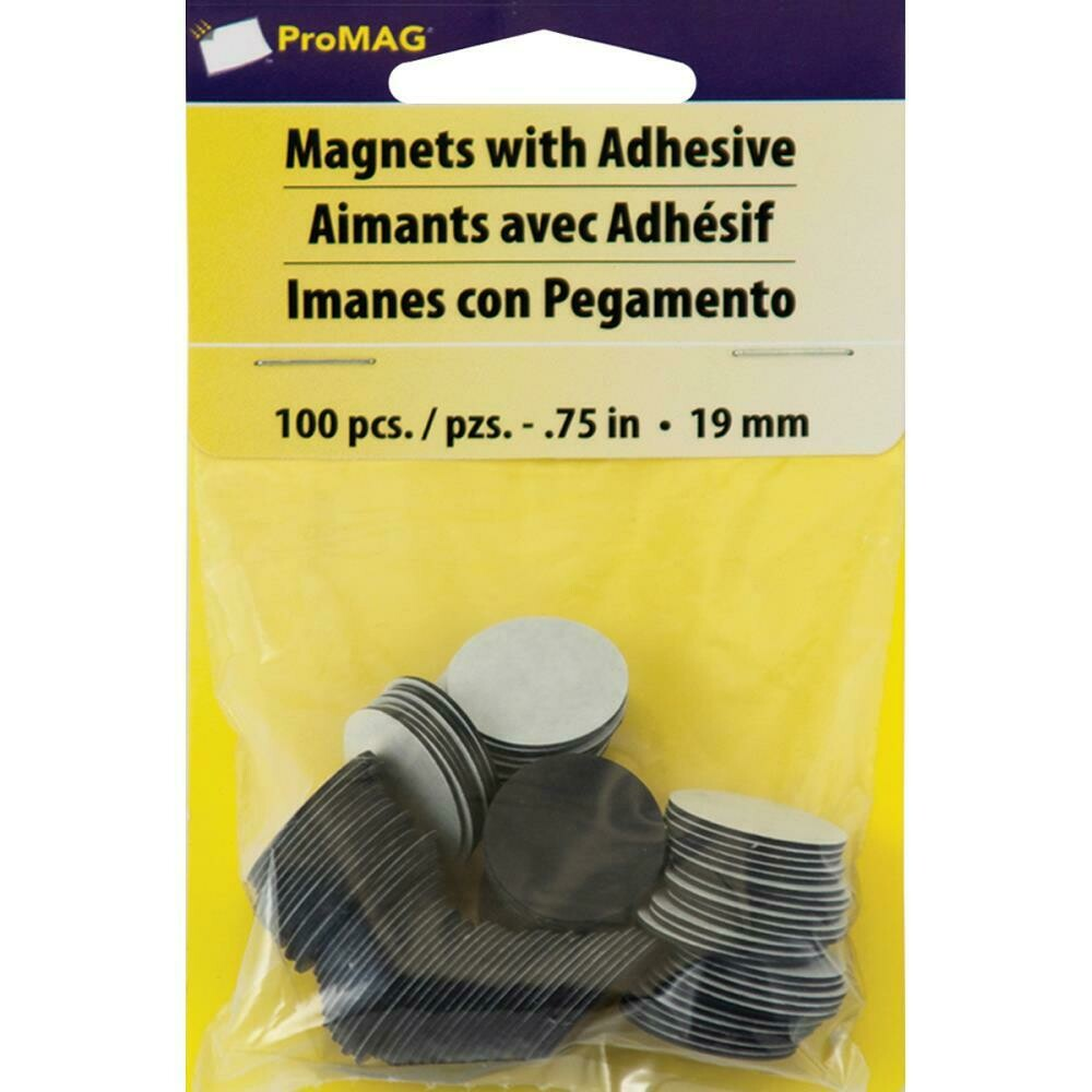9mm Magnets with Adhesive x 100pc