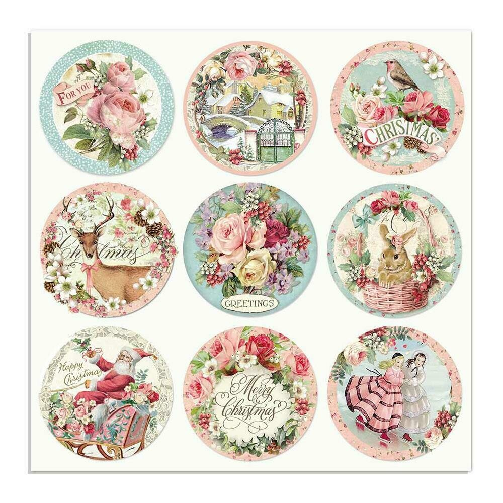 STAMPERIA PINK CHRISTMAS ROUNDS12X12 Single Sheet