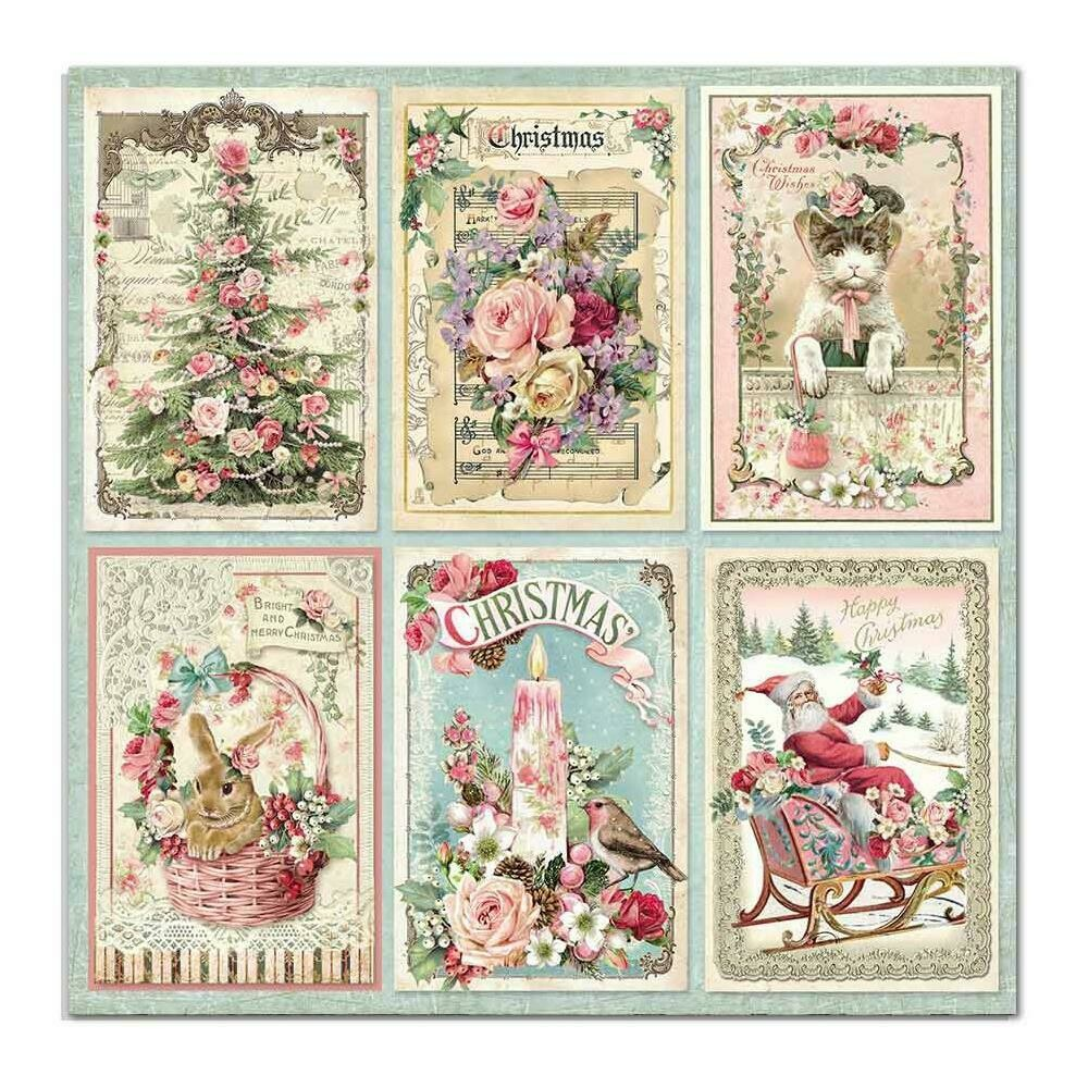 STAMPERIA PINK CHRISTMAS CARDS 12X12 Single Sheet