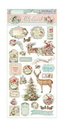 Stamperia Pink Christmas Chipboards