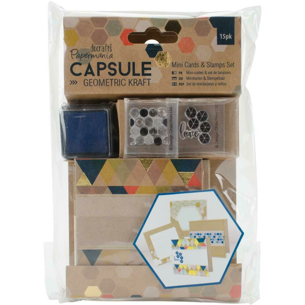 PAPERMANIA Geometric Kraft Mini Cards & Stamp Set 15/pkg
