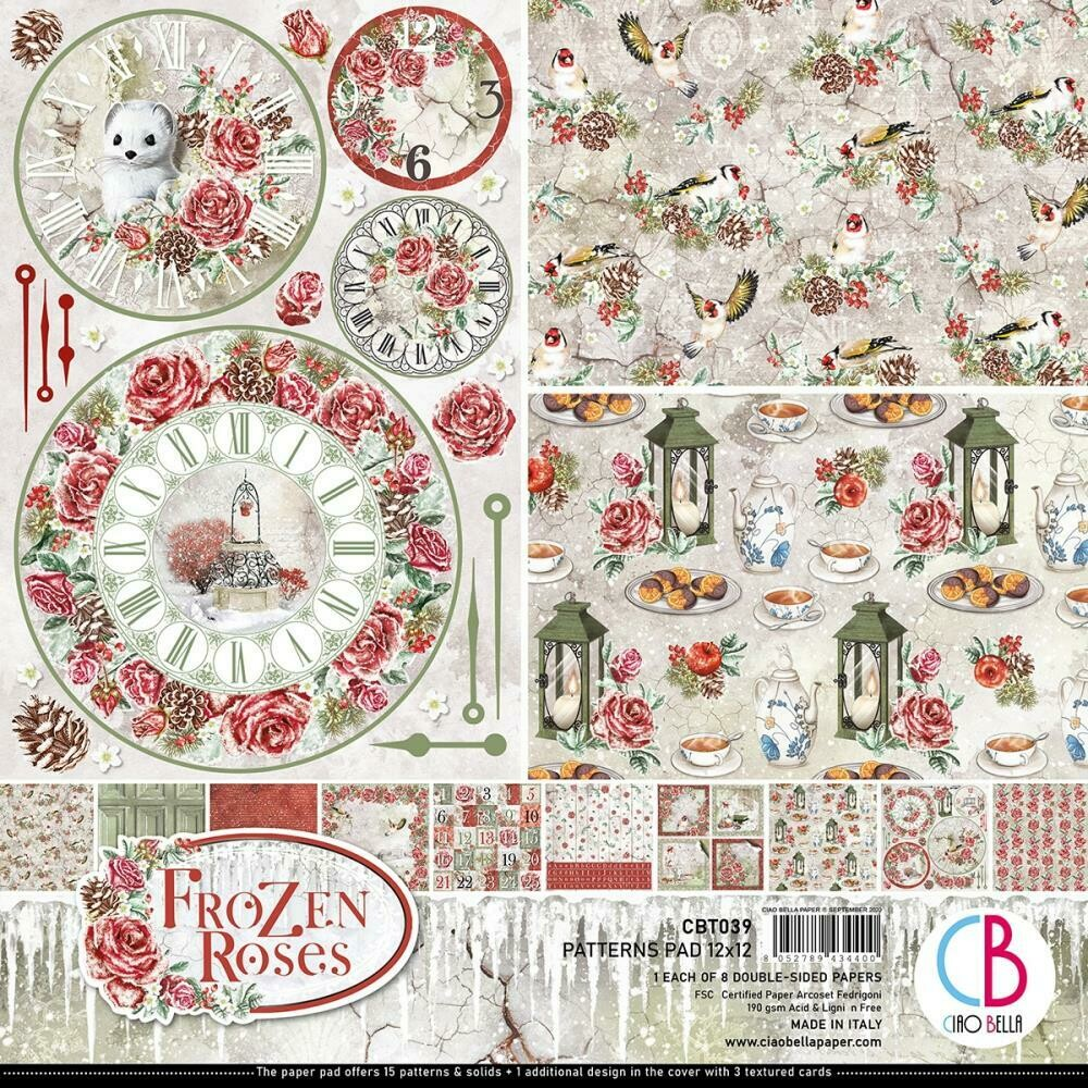 Ciao Bella FROZEN ROSES 12X12 Patterns Paper Pad