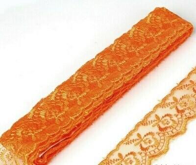 Apricot/Orange Embroidered Organza Lace