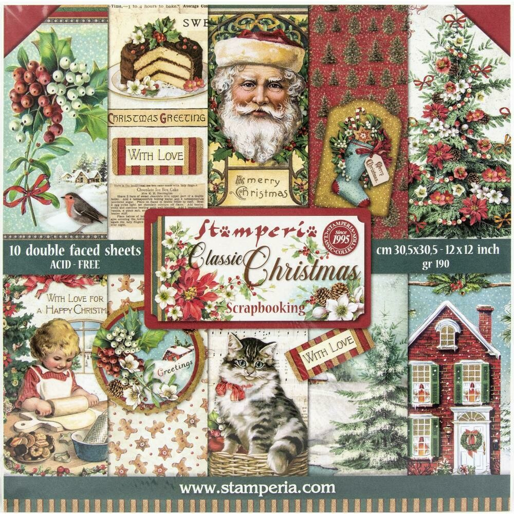 STAMPERIA CLASSIC CHRISTMAS 12X12 Paper Set