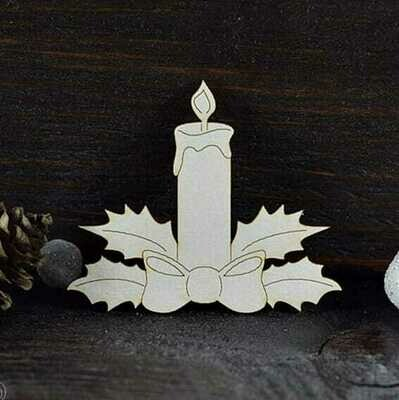 Christmas Candle & Holly 1