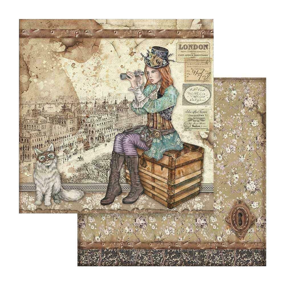 STAMPERIA LADY VAGABOND & CAT 12X12 Single Sheet