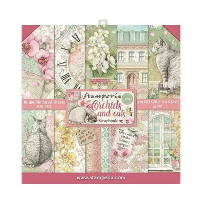 STAMPERIA ORCHIDS AND CATS 8X8 PAD