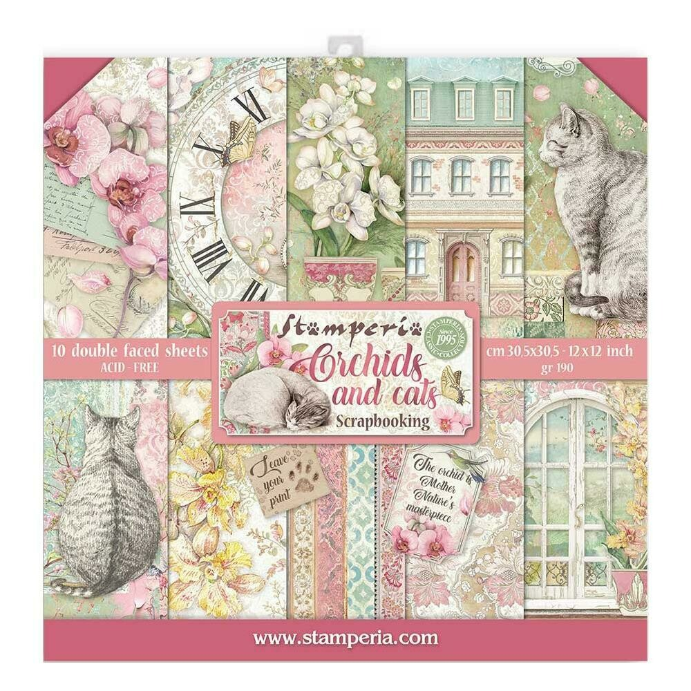 STAMPERIA ORCHIDS AND CATS 12X12 Paper Set