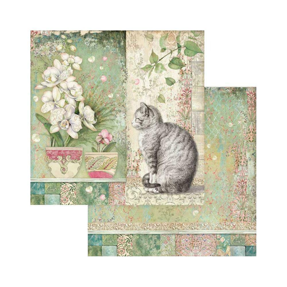 STAMPERIA CAT & VASE Single Sheet