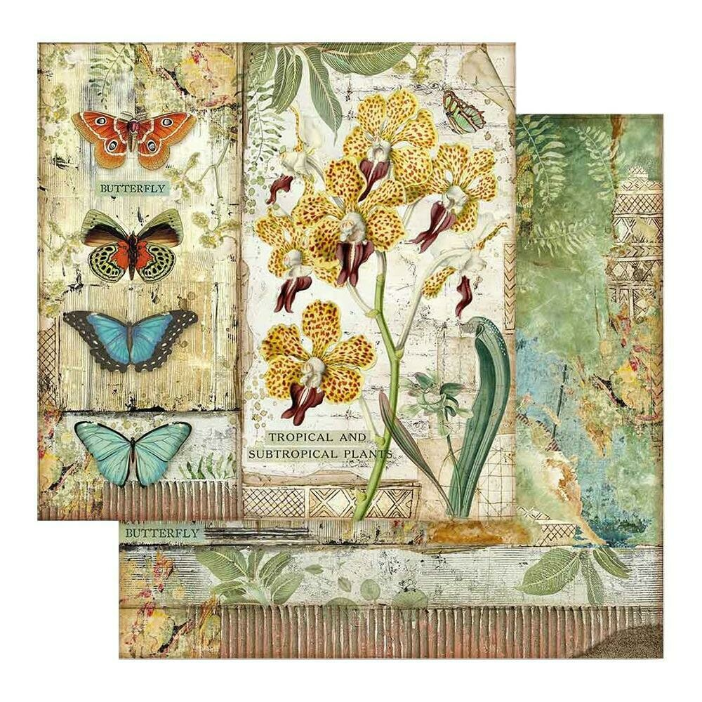 STAMPERIA AMAZONIA - ORCHID & BUTTERFLY 12X12 Single Sheet