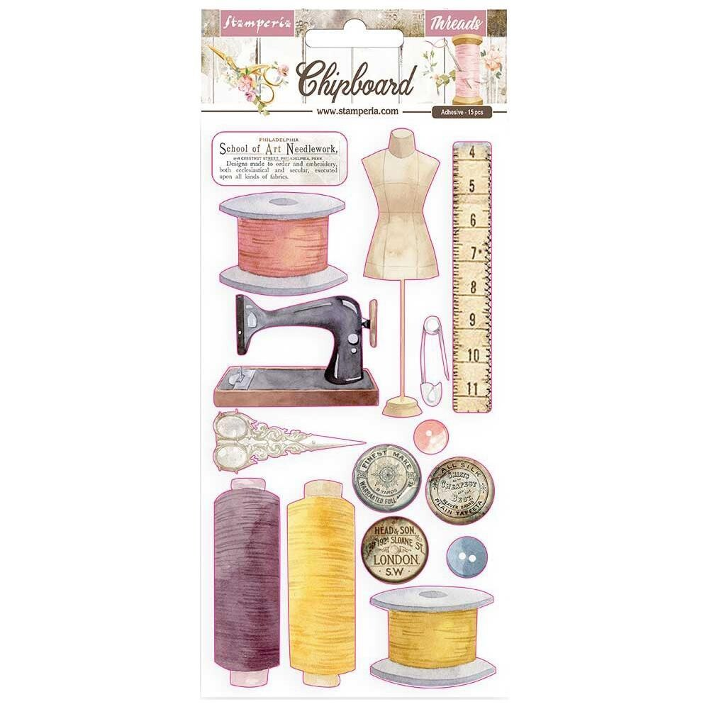 STAMPERIA - ROMANTIC THREADS - Adhesive Chipboard