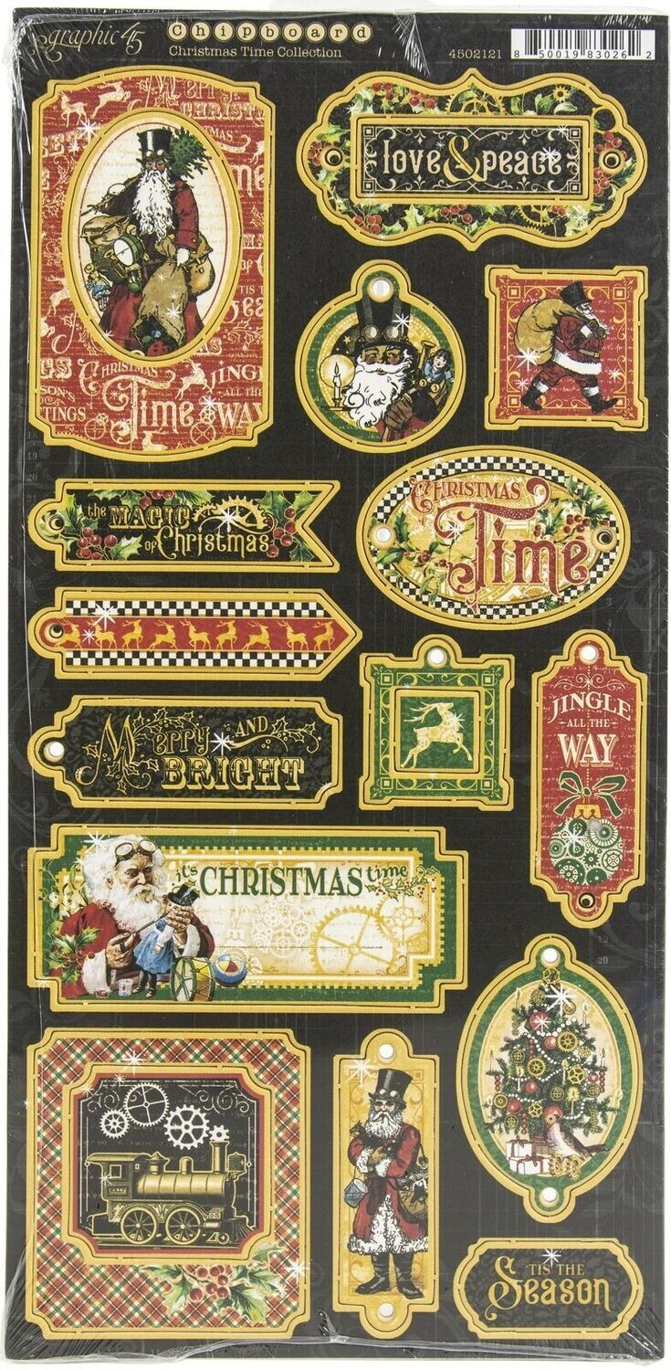 GRAPHIC 45 Christmas Time Chipboard Collection