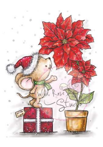Mouse and Poinsettia Clear Stamp