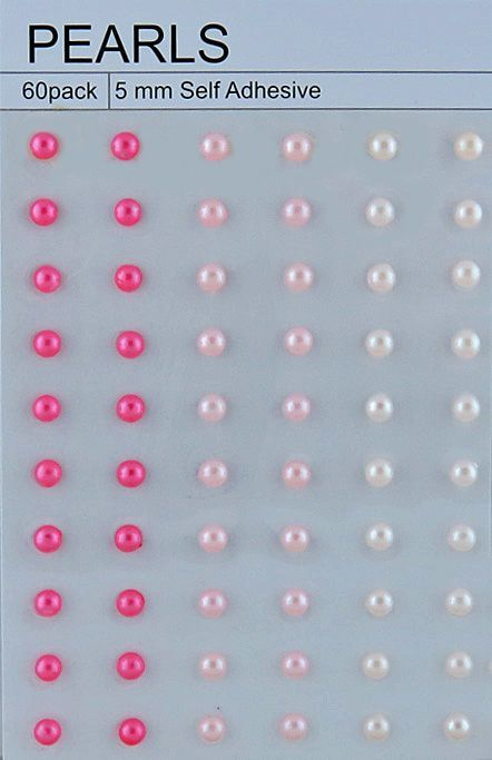60 Mixed Pink Self Adhesive Pearls 5mm