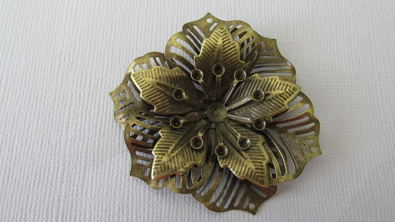 Antique Bronze Filigree Flower