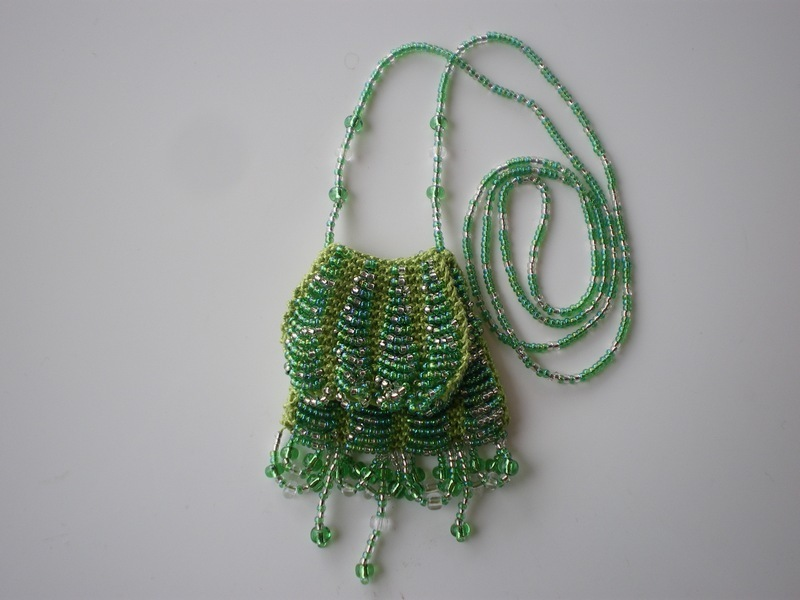 Knitted Bead Purse Necklace with Flap