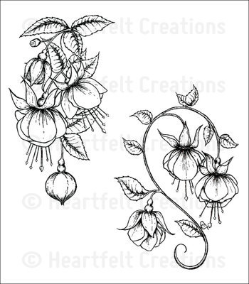 Fuchsia Clusters Cling Stamp set