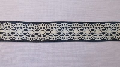Navy with Cream Lace Print - 25mm