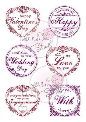 Wild Rose Studio ROMANTIC GREETINGS Clear Stamp Set