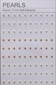 90 White Ivory & Tan Self Adhesive Pearls 3mm