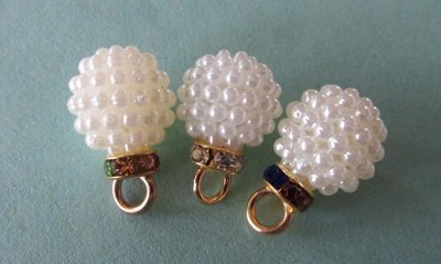 Resin Pearl Ball with Rhinestones