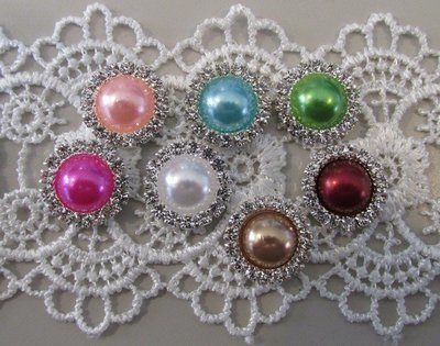 15mm Flatback Pearls with Rhinestones - Click to Select