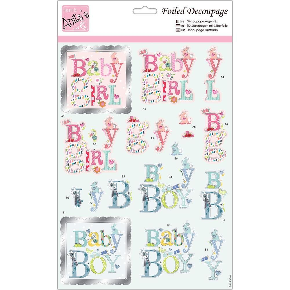 Anita's A4 Foiled Decoupage Sheet - Baby Text