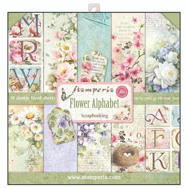 STAMPERIA FLOWER ALPHABET 12x12 Paper Set