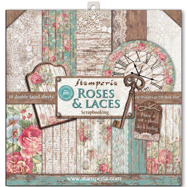 STAMPERIA ROSES LACE & WOOD 12x12 Paper Set