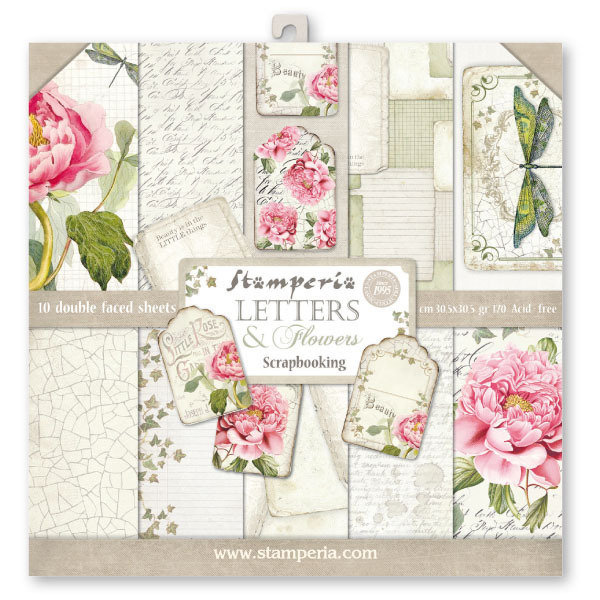 STAMPERIA LETTERS & FLOWERS 12x12 Paper Set