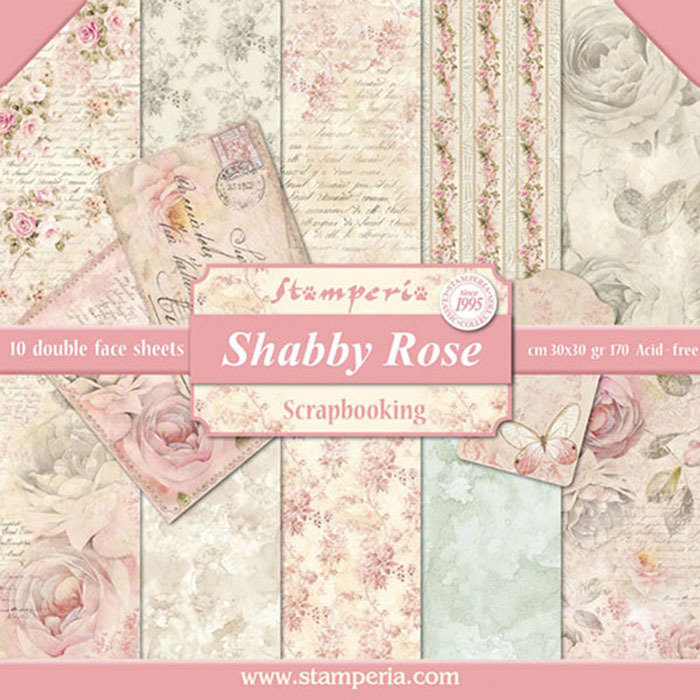STAMPERIA SHABBY ROSE 12x12 Paper Set