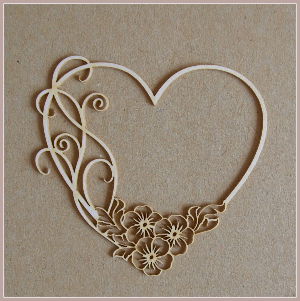 Heart With Flowers chipboard